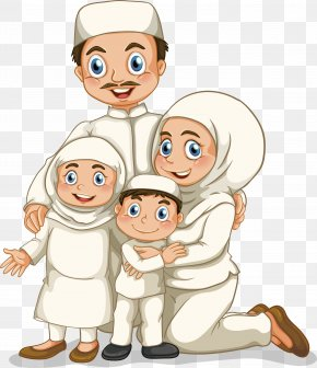 Foreign National Design - Muslim Family Illustration PNG