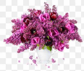 Purple Flower Pot - Flower Bouquet Tulip Lilac Vase PNG