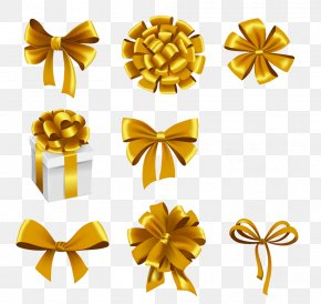 Lovely Golden Box Collection - Gift Ribbon Stock Photography Illustration PNG
