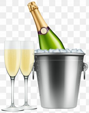 Champagne In Ice And Glasses Clip Art Image - Champagne Glass Beer Clip Art PNG