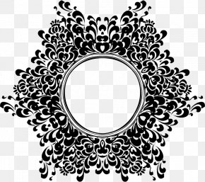 Vintage Retro Menu Design - Floral Design Black And White Clip Art PNG
