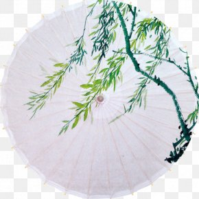Art Paper Umbrella Branch - Oil-paper Umbrella Ink Wash Painting PNG