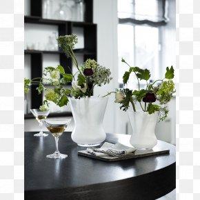 Vase - Floral Design Vase Glass Holmegaard White PNG