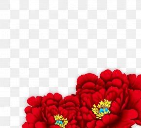 Big Red Peony - Moutan Peony Garden Roses PNG