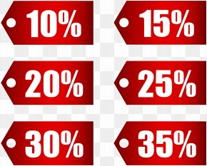 Red Discount Tags Set Part 1 Transparent Image - Adhesive Tape Discounting Coupon Price PNG