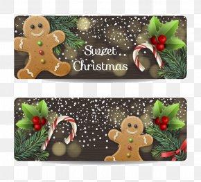 2 Gingerbread Man Banner Vector - Christmas Gingerbread Man Ginger Snap PNG