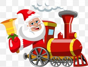 Santa Claus - Santa Claus Train Gift Christmas Clip Art PNG
