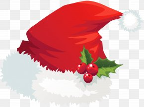Transparent Santa Hat With Mistletoe Picture - Santa Claus Hat Christmas Clip Art PNG
