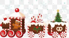 Christmas Train Vector - Train Santa Claus Christmas Gingerbread House PNG