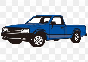 Vector Cartoon Hand Painted Blue Pickup Truck - Pickup Truck Ford F-Series Toyota Hilux Clip Art PNG
