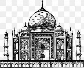 Taj Mahal - Taj Mahal Drawing Wonders Of The World Mausoleum PNG