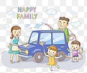 Family Car Wash Together - Car Wash Cartoon Illustration PNG