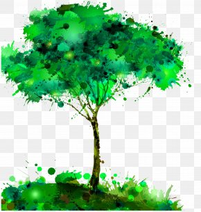Watercolor Trees - Watercolor Painting Tree Creativity PNG