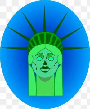Statue Of Liberty - Electric Blue Aqua Teal Turquoise PNG
