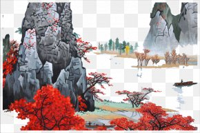 Red Mountain - Ink Wash Painting Red Illustration PNG