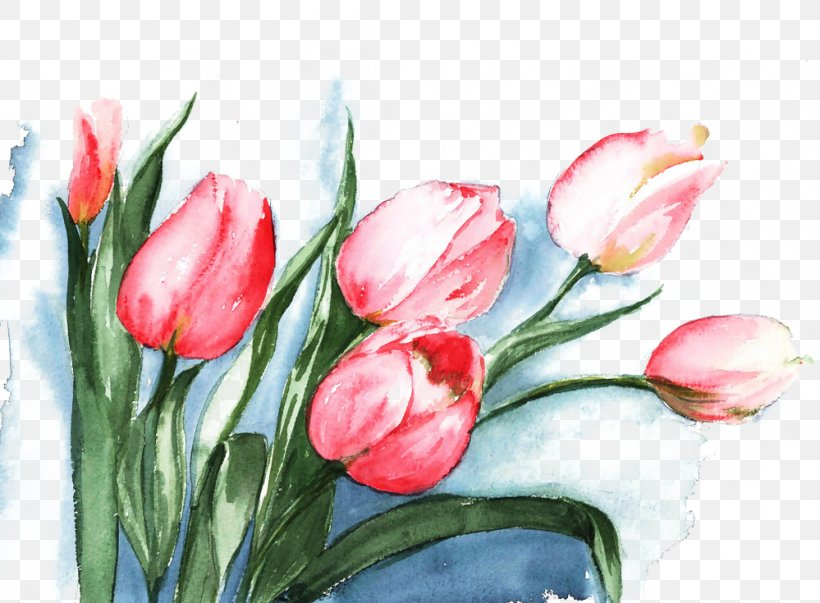 Tulip Watercolor Painting Flower, PNG, 999x735px, Flower, Acrylic Paint, Cut Flowers, Floral Design, Floristry Download Free