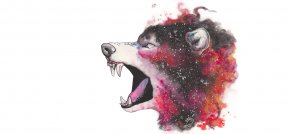 Wolf - Gray Wolf Watercolor Painting Drawing Galaxy PNG