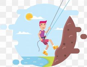 Men Climbing - Mountaineering Rock Climbing Abseiling Rope PNG