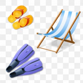 Cartoon Beach Chairs And Shoes Flippers - ICO Swimfin Icon PNG