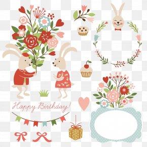 Theme Birthday Border And Rabbits - Icon PNG