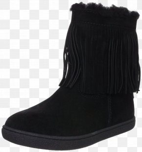 Black Fringed Boots - Snow Boot Suede Shoe Fur PNG