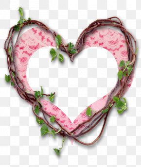 Pink Heart-shaped Photo Frame - Heart Picture Frame Wallpaper PNG
