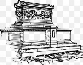 Coffin Drawing Sketch - Line Art Drawing Sarcophagus Coloring Book Illustration PNG