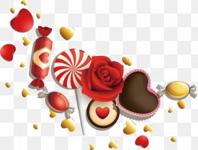Love Candy Roses - Valentines Day White Day February 14 Clip Art PNG