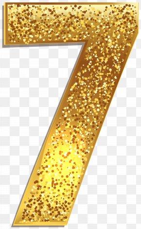 Number Seven Gold Shining Clip Art Image - Clip Art PNG