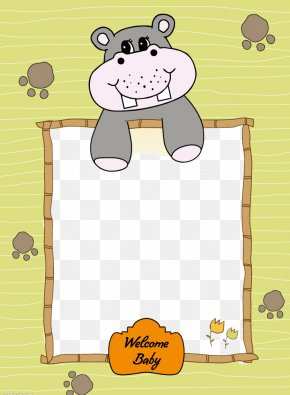 Cute Hippo Border - Picture Frame PNG