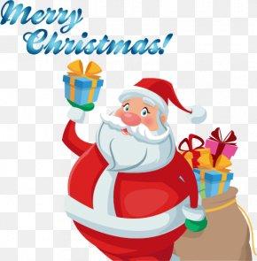 Holding A Gift Santa Claus Vector Material - Santa Claus Christmas Ornament Gift Illustration PNG