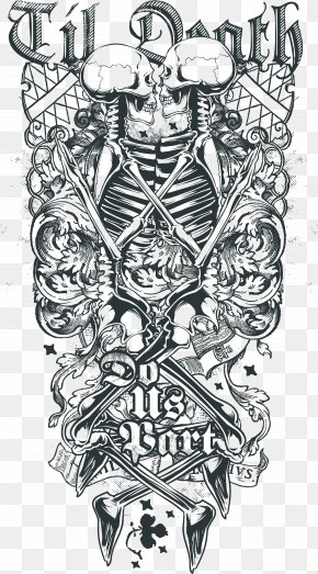 Depending On The Printing Of Skull Skeleton - Death Sleeve Tattoo Abziehtattoo Human Skull Symbolism PNG