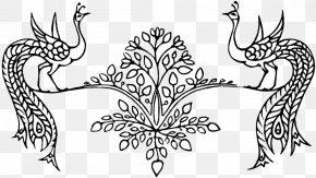 Peacock Phoenix Branch Stick Figure - Visual Arts Motif Fauna Flora Sketch PNG