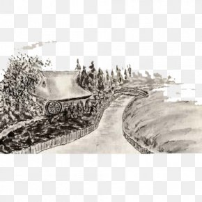 Country Road - Ink Wash Painting Stock Illustration Royalty-free Illustration PNG