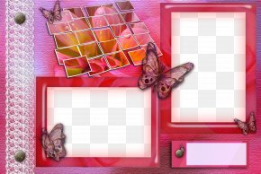 Pink Butterfly Frame Border - Picture Frame Photography PNG