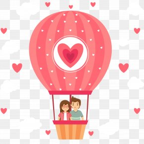 Couple Vector Illustration Hot Air Balloon On - Hot Air Balloon PNG