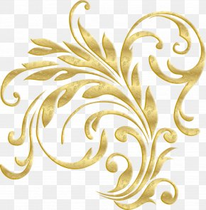 Gold Plant Pattern - Borders And Frames Graphic Design Clip Art PNG