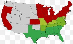 United States - American Civil War Historic Regions Of The United States Blank Map PNG