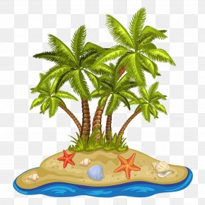 Cartoon Summer Beach Coconut Tree PNG