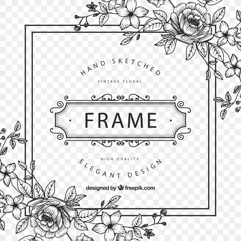 Picture Frame Flower Clip Art, PNG, 1667x1667px, Picture Frames, Area, Art Deco, Black, Black And White Download Free