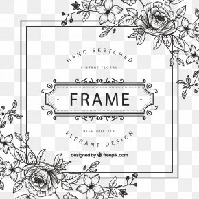 Black And White Flower - Picture Frame Flower Clip Art PNG
