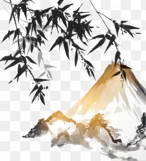 Japan Ink Bamboo Mountain - Ink Wash Painting Bamboo Japanese Painting PNG