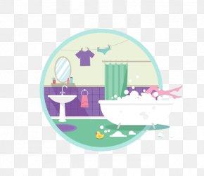 Flattened Bubble Bath - Flat Design Illustration PNG