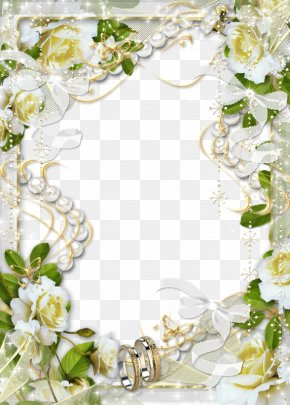White Flower Frame Clipart - Picture Frame Wedding PNG