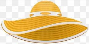 Yellow Summer Female Hat Transparent Clip Art Image - Sun Hat Fascinator Headgear Clip Art PNG