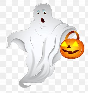 Halloween Ghost With Pumpkin Basket PNG Clipart - Halloween Ghost Jack-o'-lantern Clip Art PNG