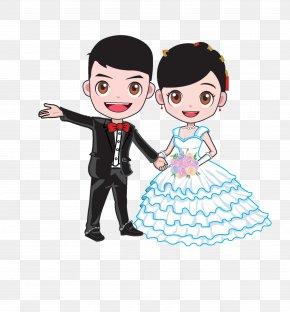 Cartoon Bride And Groom - Cartoon Wedding Marriage Bridegroom PNG