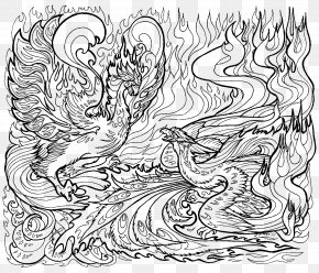 Coloring Pages For Adults Dragon - Coloring Book Line Art Drawing Illustration PNG
