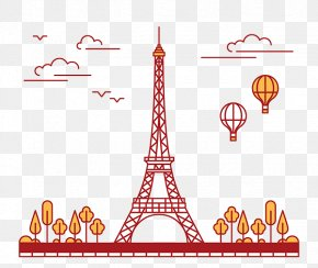Freehand Line Drawing Of The Eiffel Tower Flat - Eiffel Tower Drawing Cartoon Illustration PNG