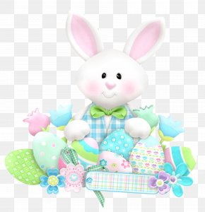 Easter Cute Bunny With Eggs Clipart - Easter Bunny Rabbit Clip Art PNG